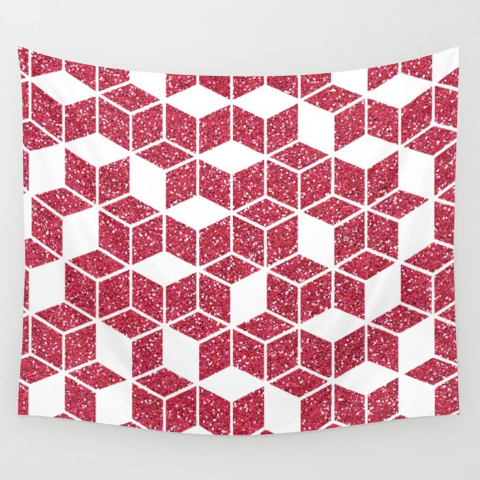 Pink Glitter Cube Wall Tapestry