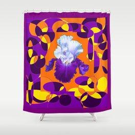 Colorful Moden Purple White Iris Orange Yellow Black Design Shower Curtain