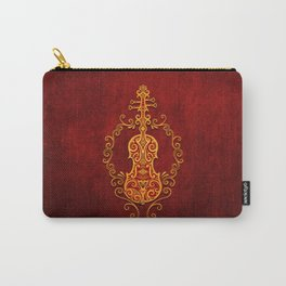 Aged Vintage Red and Yellow Tribal Violin Design Carry-All Pouch