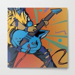 Pop Art Guitarist Metal Print