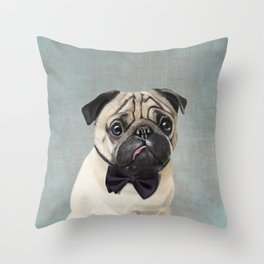 Mr Pug Throw Pillow