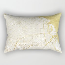 Buenos Aires Map Gold Rectangular Pillow