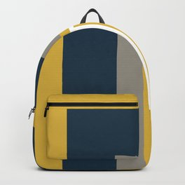 Half Frame Minimalist Pattern 3 in Deep Mustard Yellow, Navy Blue, Grey, and White. Backpack