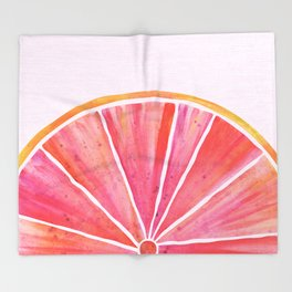 Sunny Grapefruit Watercolor Throw Blanket