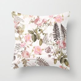 Vintage & Shabby Chic - Blush Roses and Fern Leaf Throw Pillow