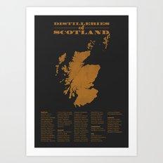 Distilleries of Scotland (woodpress) Art Print