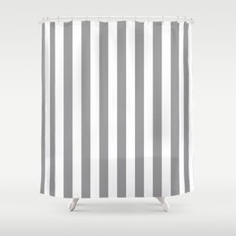 Vertical Stripes Gray & White Shower Curtain