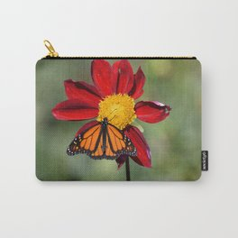 Monarch Butterfly on Red Flower Carry-All Pouch