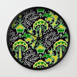 Batik : Central Borneo (Green) Wall Clock