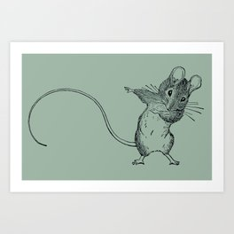 Green Mouse Dab by Jane Allen Boyer Art Print