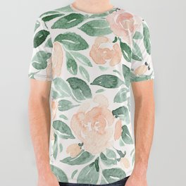 """Loose watercolor florals, """"Miriam"""" All Over Graphic Tee"""