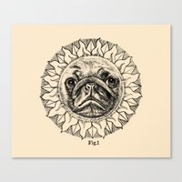 astronomy Canvas Prints featuring Astronomy Pug by beart24