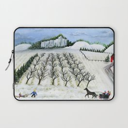 Hilly Horse-Drawn Sleigh Laptop Sleeve