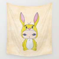 coco Wall Tapestries featuring A Boy - Rabbit (coco lapin) by Christophe Chiozzi