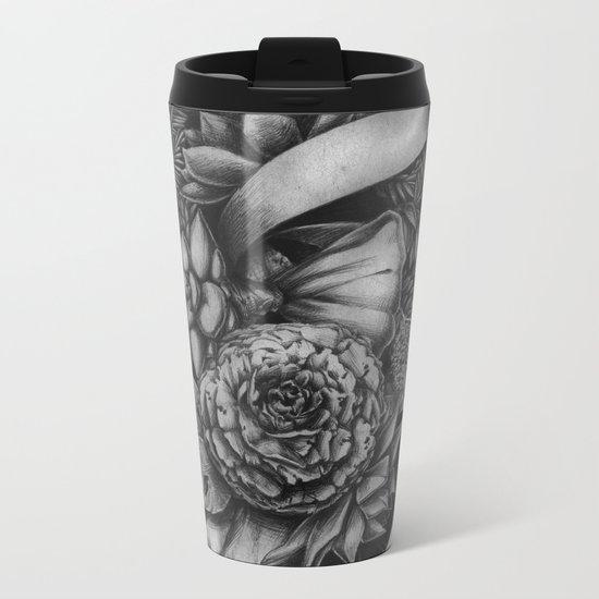 Peony and succulents Metal Travel Mug