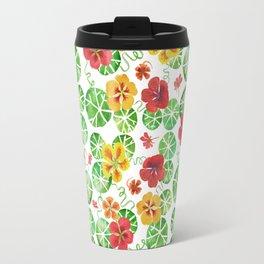 Watercolor Nasturtiums Travel Mug