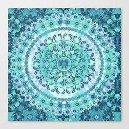 Aqua Mosaic Mandala Canvas Print