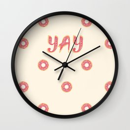 YAY Doughnuts Wall Clock
