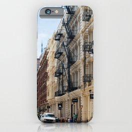 Typical street in Soho in New York iPhone Case