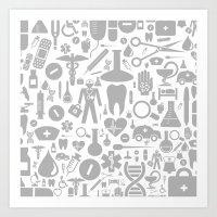 medical Art Prints featuring Medical background by aleksander1