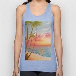 Paradise, Beautiful Beach, Peaceful Beach, Pastel Beach, Beach decor Unisex Tank Top