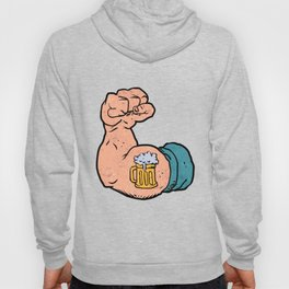 arm flexed with beer tattoo Hoody