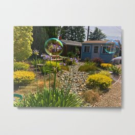 """Back Yard Bubble Flower"" Metal Print"