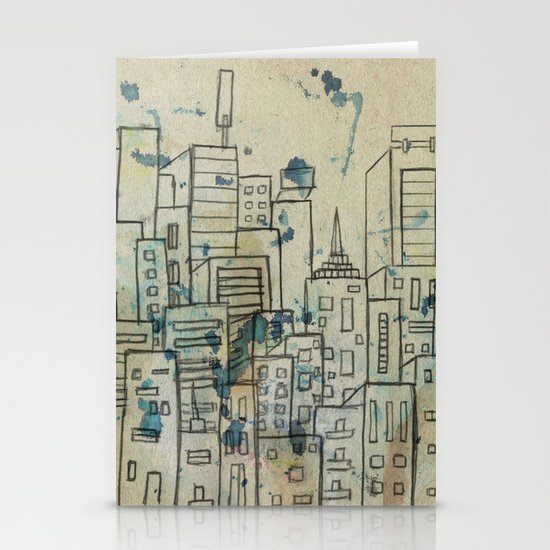Sketch of buildings in a city that doesn't exist Stationery Cards