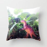 dinosaur Throw Pillows featuring Dinosaur by cafelab
