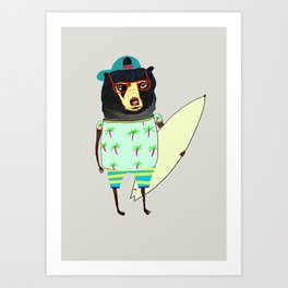 Surfer Bear. surfing art, surf decor, cool, Art Print