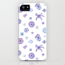 Purple Watercolor Floral Pattern iPhone Case