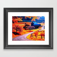 Farmhouse In Autumn Framed Art Print
