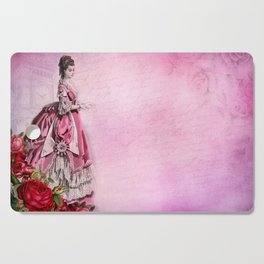 Pink Renaissance Gothic Vintage Lady in Dress Cutting Board