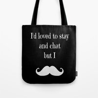 moustache Tote Bags featuring Moustache  by  Alexia Miles photography