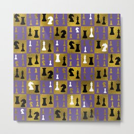 Violet Chessboard and Chess Pieces pattern Metal Print