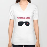 terminator V-neck T-shirts featuring The Terminator by NotThatMikeMyers