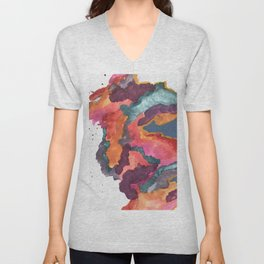 Carnival: a vibrant mixed media piece inspired by New Orleans Unisex V-Neck