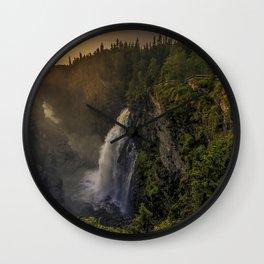 Hällingsafallet Waterfall evening sunset mountain landscape mountain waterfall Jamtland County Sweden Wall Clock