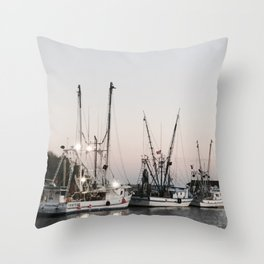 Fishing Boats on the Water at Sunset Throw Pillow