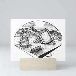 """Camp Sweet Camp"" Nature Camping Original Artwork, Tent Campfire Wall Art Mini Art Print"