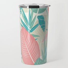 Tropical Palm Leaves, PinkTurquoise,Seashells Travel Mug