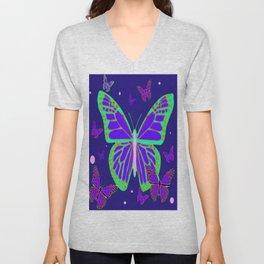 Indigo Night Monarch Type Butterflies Abstract Unisex V-Neck