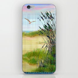 Plaid Beachscape with Seagrass iPhone Skin