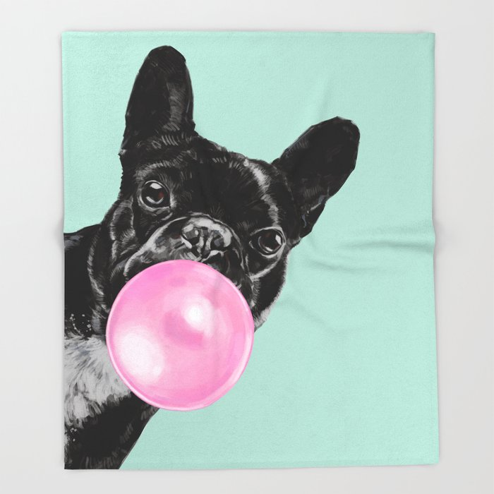 Bubble Gum Sneaky French Bulldog in Green Throw Blanket