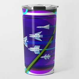 NASA Space Saturn Shuttle Retro Futuristic Explorer Blue Travel Mug