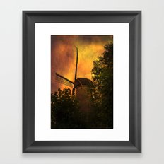 Old windmills in small town of Woudrichem, Holland Framed Art Print