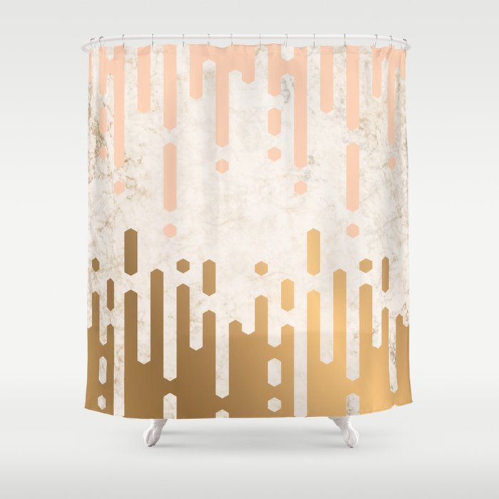 Marble And Geometric Diamond Drips In Gold Peach Shower Curtain
