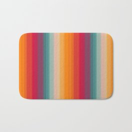 Retro Rainbow Striped Pattern Bath Mat