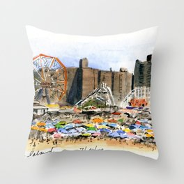 Coney Island on the Fourth of July Throw Pillow