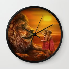 image in warm colors of lion with little girls Wall Clock